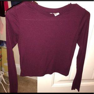 H&M's  Purple long sleeve crop top